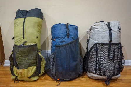 Left: MLD Burn (2014 model), Middle: Atom Pack's Atom, Right: HMG 41L